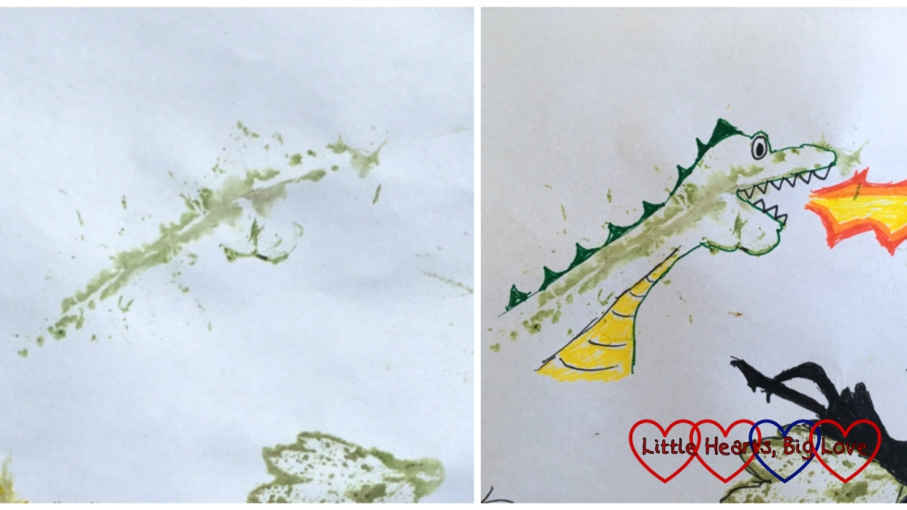 A leaf print (left) and a dragon doodle using the outline of the leaf print (right)