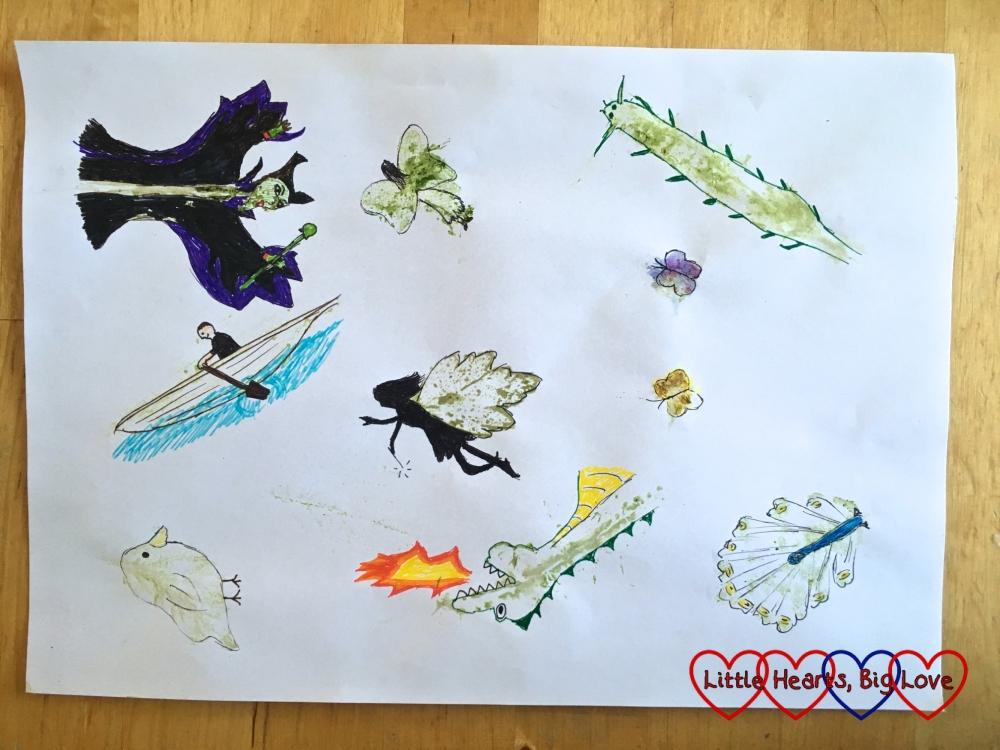 A selection of doodles over leaf prints - Maleficent from Sleeping Beauty, two fairies, two butterflies, a long insect, a dragon, a peacock, a man rowing a boat and a bird