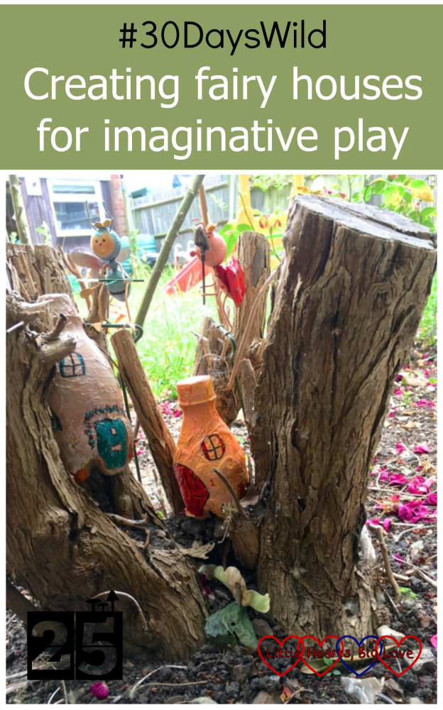 "Two painted fairy houses made from plastic bottles nestled in a buddleia tree stump - ""#30DaysWild - Creating fairy houses for imaginative play"""
