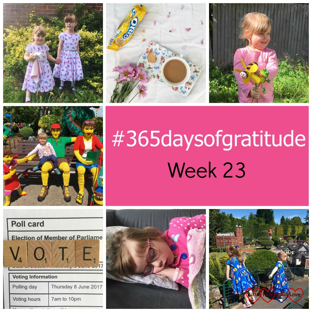 "Jessica and Sophie in pretty summer dresses; A flat lay with a cup of tea, packet of biscuits and flowers; Sophie holding garden ornaments; Sophie sitting with a Lego family; the word VOTE spelled in Scrabble tiles on a polling card; Jessica asleep on the sofa; Jessica and Sophie at Bekonscot model village - ""#365daysofgratitude - Week 23"""