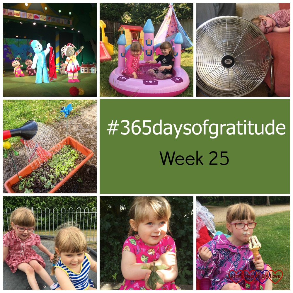 """In the Night Garden Live; Jessica and Sophie in the paddling pool; a big fan; watering the plants; Jessica and Sophie at the park; Sophie holding her nature fairy; Jessica eating an ice-cream - """"#365daysofgratitude - Week 25"""""""