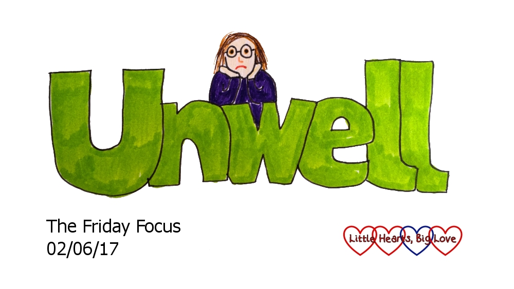 """A doodle of the word """"unwell"""" with a cartoon version of me leaning on the 'w', looking unhappy with my head resting in my hands"""