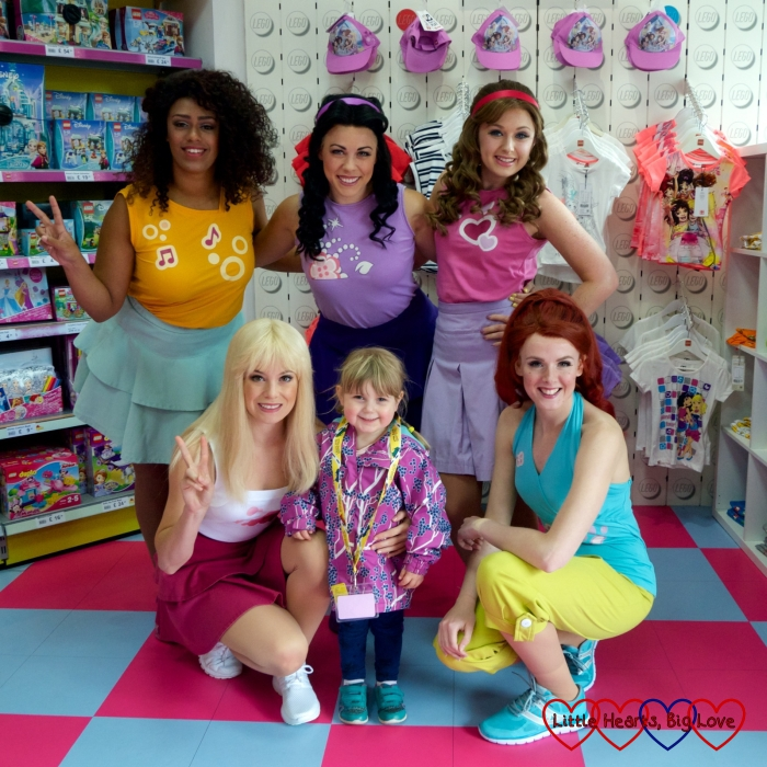 Sophie with the five Lego Friends at Legoland