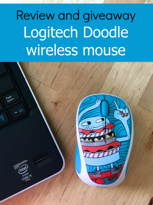 "A corner of a laptop with a Logitech Doodle wireless mouse - ""Review and giveaway Logitech Doodle wireless mouse"""