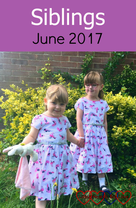 "Jessica and Sophie holding hands in the garden - ""Siblings - June 2017"""