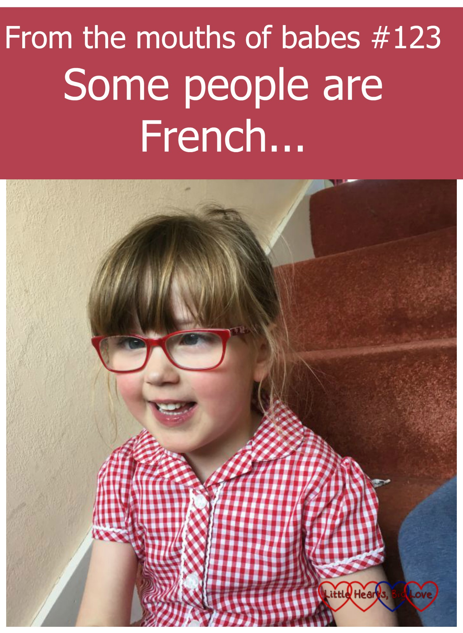 Jessica sitting on the stairs wearing her school summer dress - From the mouths of babes #123 - Some people are French...