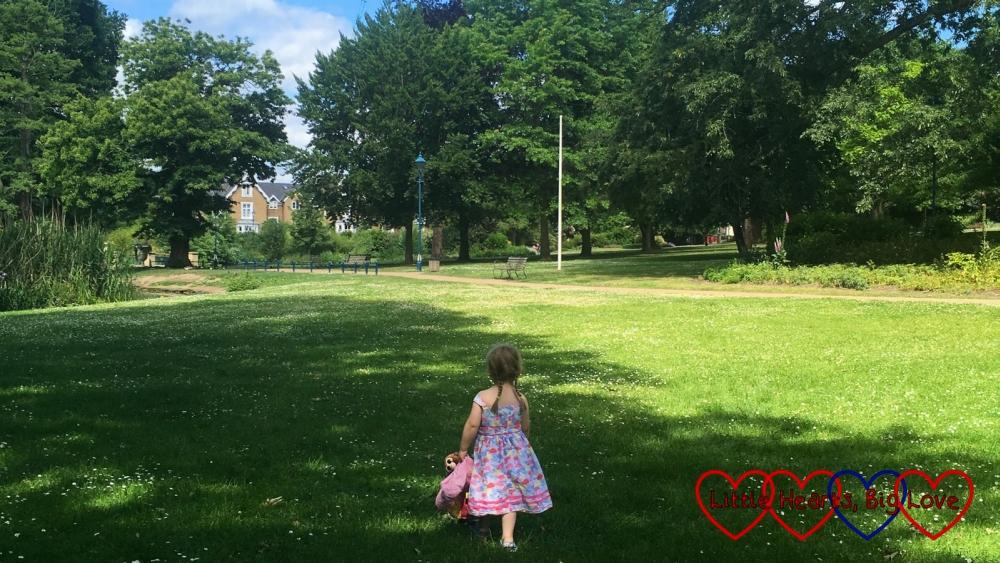 Sophie exploring Herschel Park in the sunshine