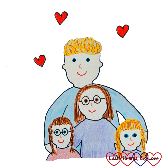 A drawing of hubby, me, Jessica and Sophie with hearts surrounding us