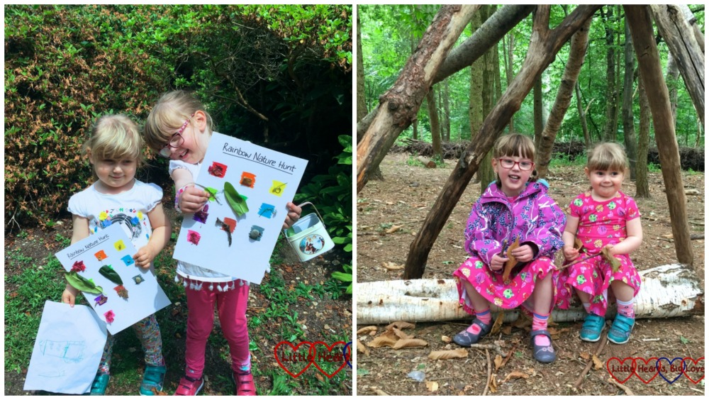 Jessica and Sophie with their rainbow nature hunt sheets and sitting under a den in the woods