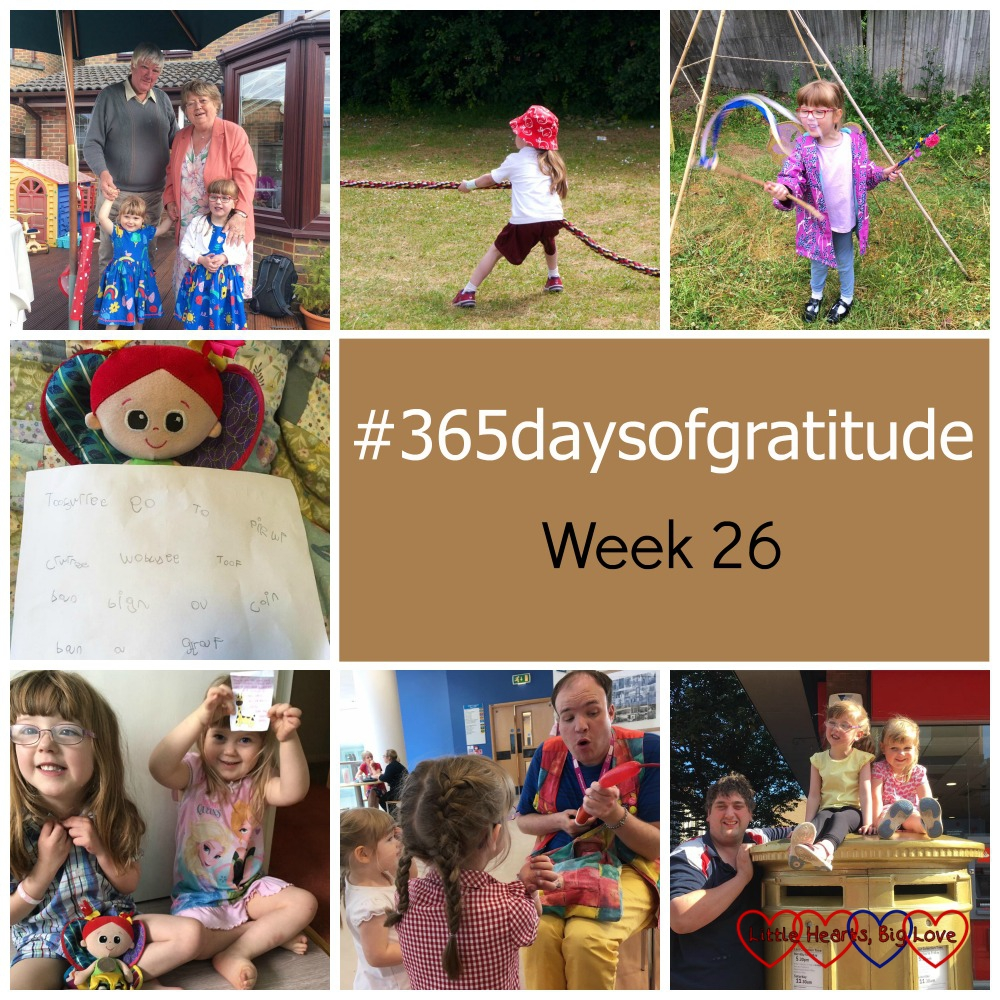 Jessica and Sophie with Grandma and Grandad; Jessica doing the tug of war; Jessica twirling a stick with ribbons; Kerry with a note to the tooth fairy; Jessica and Sophie with the reply from the tooth fairy; Jessica and Sophie watching a children's entertainer; Jessica, Sophie and hubby by a gold postbox - #365daysofgratitude - Week 26