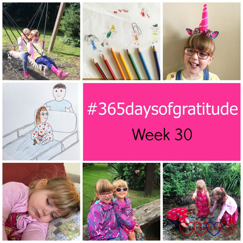 "Jessica and Sophie on a rope swing; Jessica's drawing surrounding by colouring pencils; Jessica with a unicorn horn headband on; my drawing of Jessica going to theatre on a trolley; Sophie having a nap on the sofa; Sophie and Jessica sitting together outside; Sophie, Jessica and their friend C playing in a stream - ""#365daysofgratitude - Week 30"""