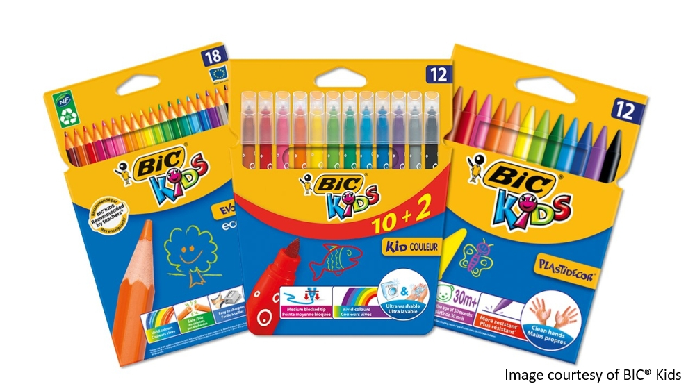 BIC® KIDS Kid Couleur felt tip pens, BIC® KIDS Evolution® Ecolutions® colouring pencils and BIC® KIDS Plastidecor® crayons