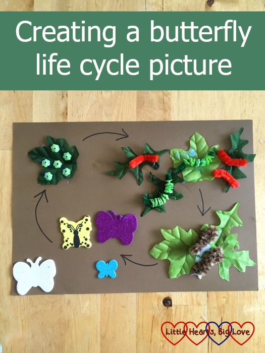 """A butterfly life cycle picture made from leaf shapes, pipe cleaners, butterfly stickers and sequins - """"Creating a butterfly life cycle picture"""""""