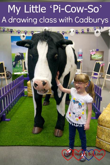 """Jessica with Buttons, the Cadburys animatronic cow - """"My Little 'Pi-Cow-So' – a drawing class with Cadburys"""""""