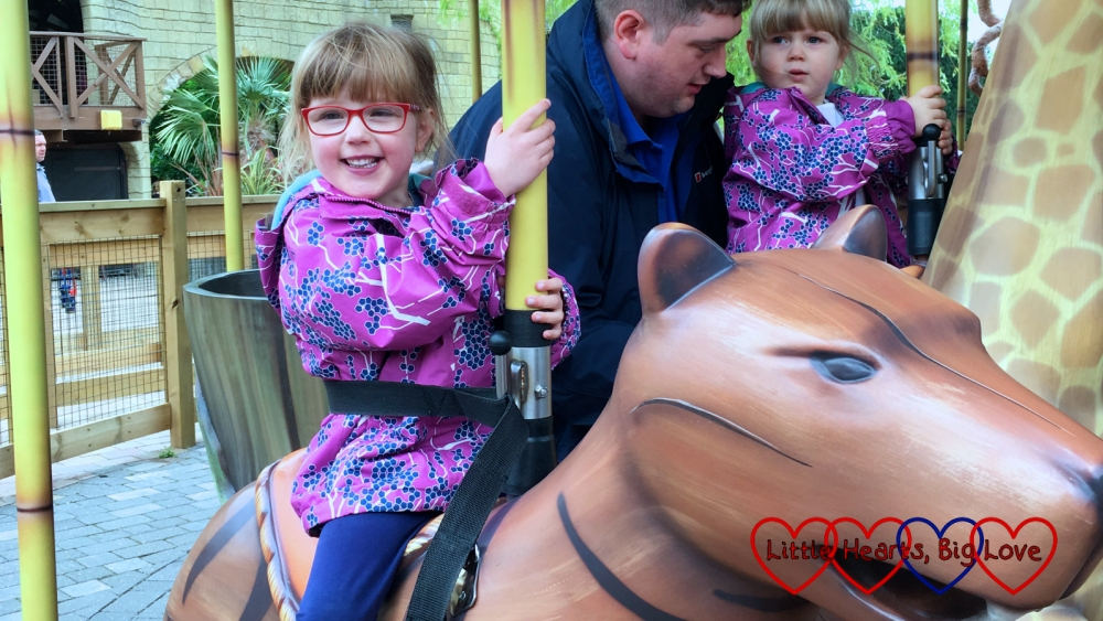 Jessica and Sophie on the Adventure Tree ride at Chessington World of Adventures