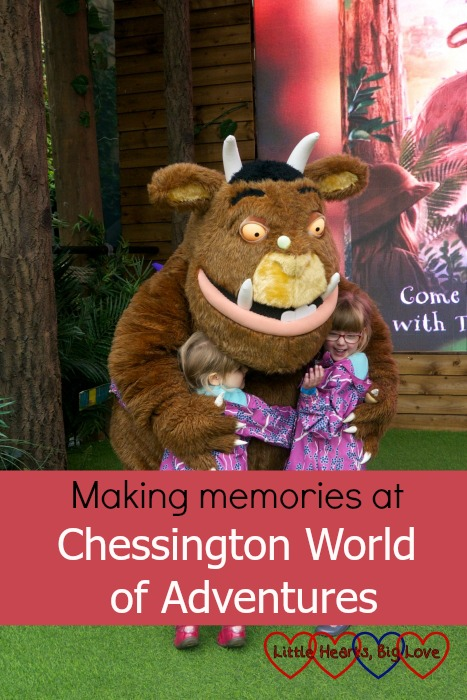 "Jessica and Sophie giving the Gruffalo a hug - ""Making memories at Chessington World of Adventures"""