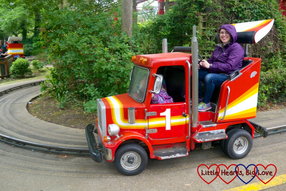 "Me being ""driven"" by the girls in one of the trucks on the Tiny Truckers ride at Chessington World of Adventures"