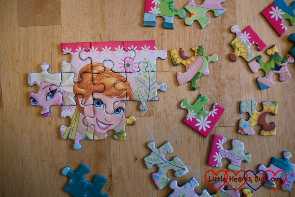 A partly completed Frozen Fever jigsaw puzzle