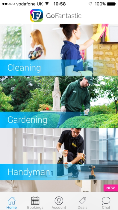 A screenshot from the GoFantastic app showing cleaning, gardening and handyman options