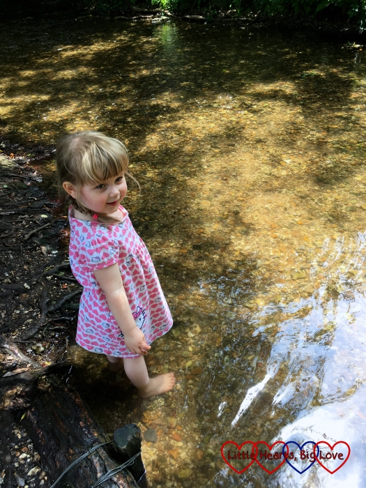 Sophie paddling in the stream at Denham Country Park