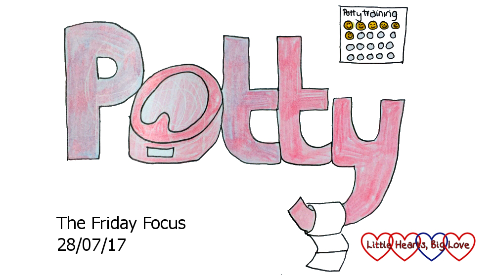 """A doodle of the word """"Potty"""" with a potty for the 'o' and a toilet roll hanging off the bottom of the 'y'"""