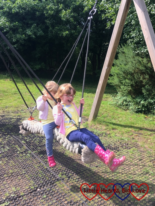 Jessica and Sophie on the rope swing at Chiltern Open Air Museum