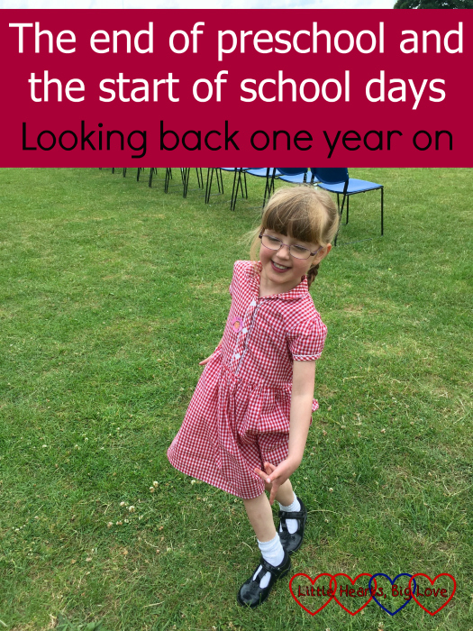 "Jessica wearing her school summer dress - ""The end of preschool and the start of school days - looking back one year on"""