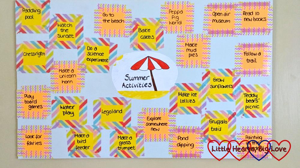 Our summer activities list