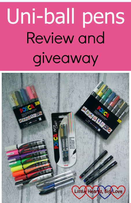 "A selection of pens from the Uni-ball range - including POSCA markers, Uni Chalk markers, Uni PIN fine-line drawing pens, Signo gel pens, a Uni Air pen and a Signo TSI eraser pen - ""Uni-ball pens: review and giveaway"""