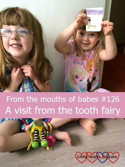 "Jessica and Sophie with Kerry, a coin and a note from the tooth fairy - ""From the mouths of babes #126 - A visit from the tooth fairy"""