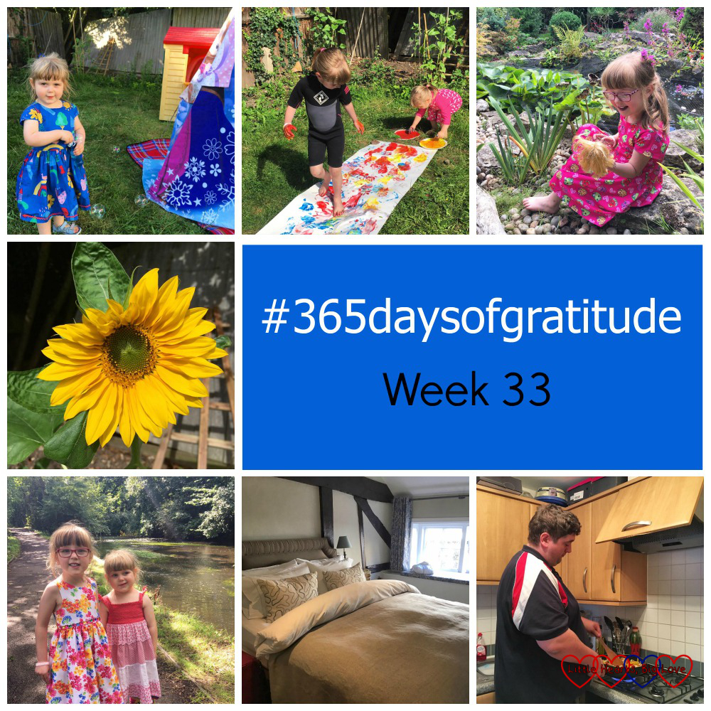 """Sophie blowing bubbles in the garden; Jessica and Sophie doing footprint painting in the garden; Jessica sitting by a pond; a sunflower; Jessica and Sophie next to a lake; a hotel room and my hubby cooking fajitas - """"#365daysofgratitude - Week 33"""""""