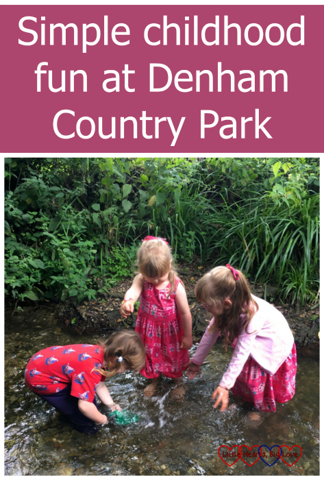 "Jessica, Sophie and C splashing in a stream - ""Simple childhood fun at Denham Country Park"""