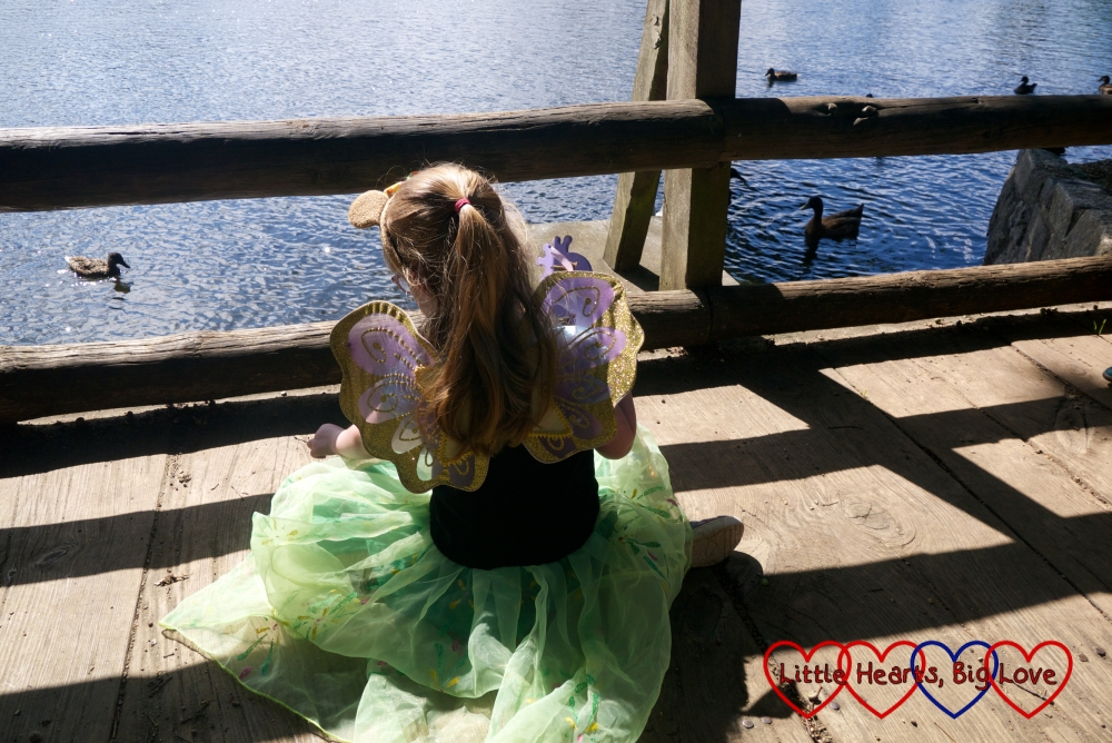 Jessica in her princess dress and fairy wings looking at the ducks in the lake at Black Park
