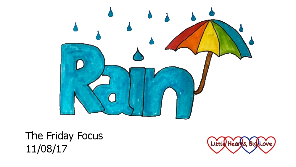 The word rain with an umbrella at the end and surrounded by raindrops