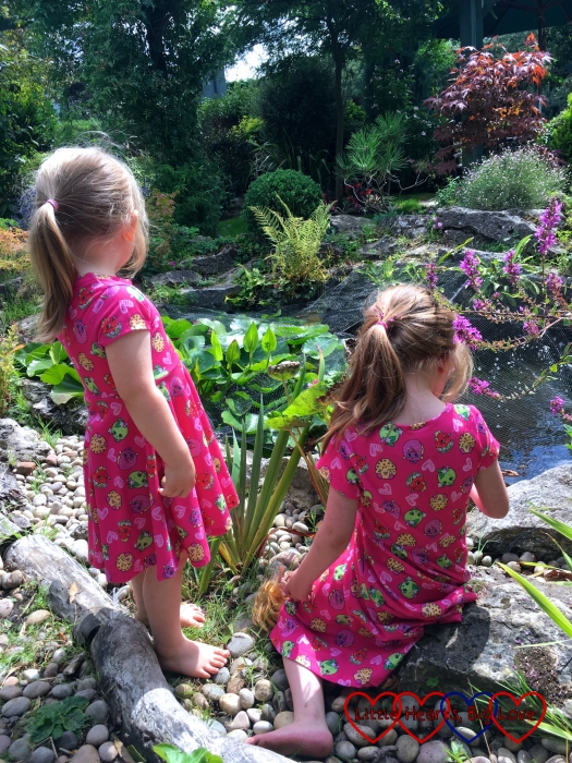 Sophie and Jessica looking out over a pond at the Rural Activities Garden Centre