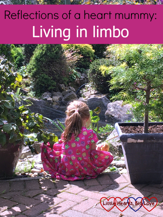"Jessica sitting and looking at a pond - ""Reflections of a heart mummy: living in limbo"""