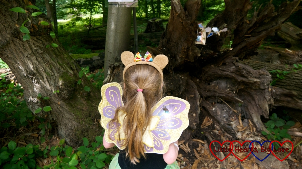 Jessica wearing a princess dress, fairy wings and a teddy bear ears headband looking at a fairy house in the woods
