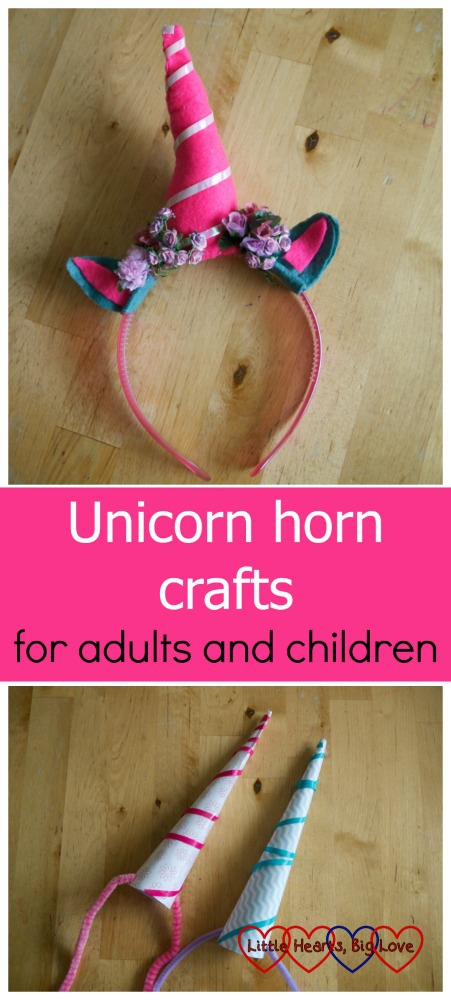 "A unicorn horn headband (top) and a paper cone unicorn horn (bottom) - ""Unicorn horn crafts for adults and children"""