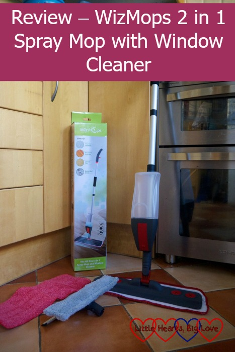 The WizMops 2 in 1 spray mop with spare microfibre pad and window cleaner attachment