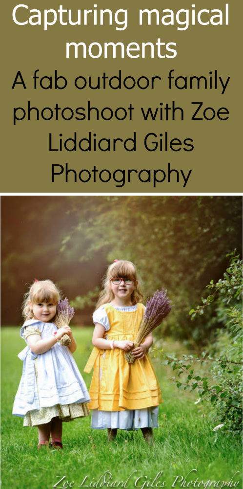 "A photo of Jessica and Sophie wearing vintage-style dresses with pinafores and holding bunches of lavender - ""Capturing magical moments - a fab outdoor family photoshoot with Zoe Liddiard Giles Photography"""