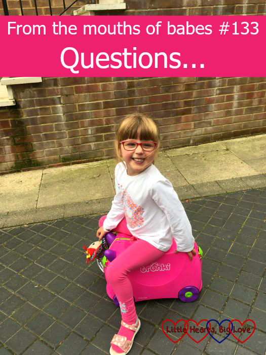 "Jessica sitting on a pink Trunki suitcase and smiling - ""From the mouths of babes #133 - Questions..."""