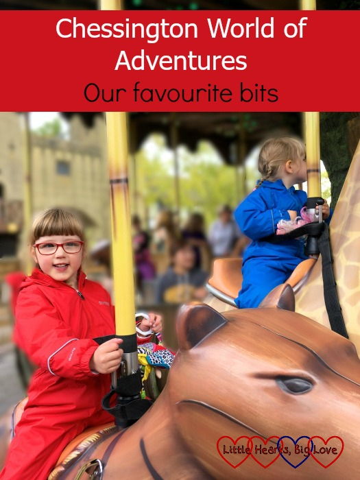 """Jessica and Sophie riding the animals on the Adventure Tree carousel - """"Chessington World of Adventures: our favourite bits"""""""
