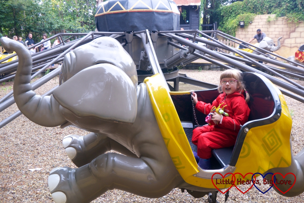 Jessica in one of the elephants on the Flying Jumbos ride at Chessington World of Adventures
