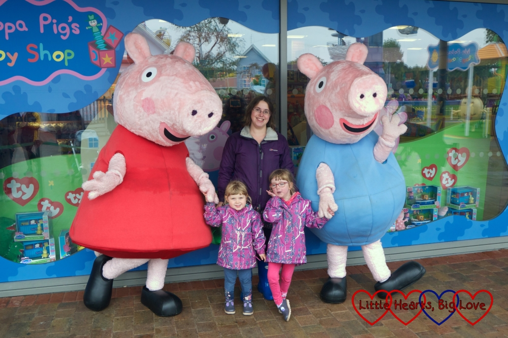 Me, Jessica and Sophie with Peppa and George at Peppa Pig World