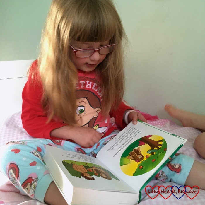 Jessica reading a Bible story
