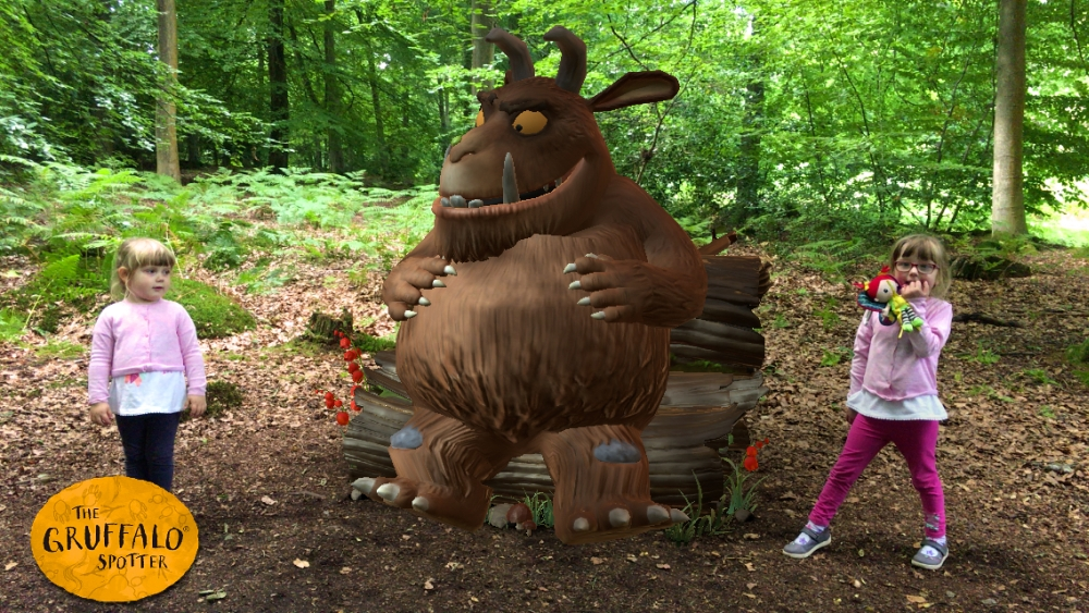 Jessica and Sophie with the animated Gruffalo