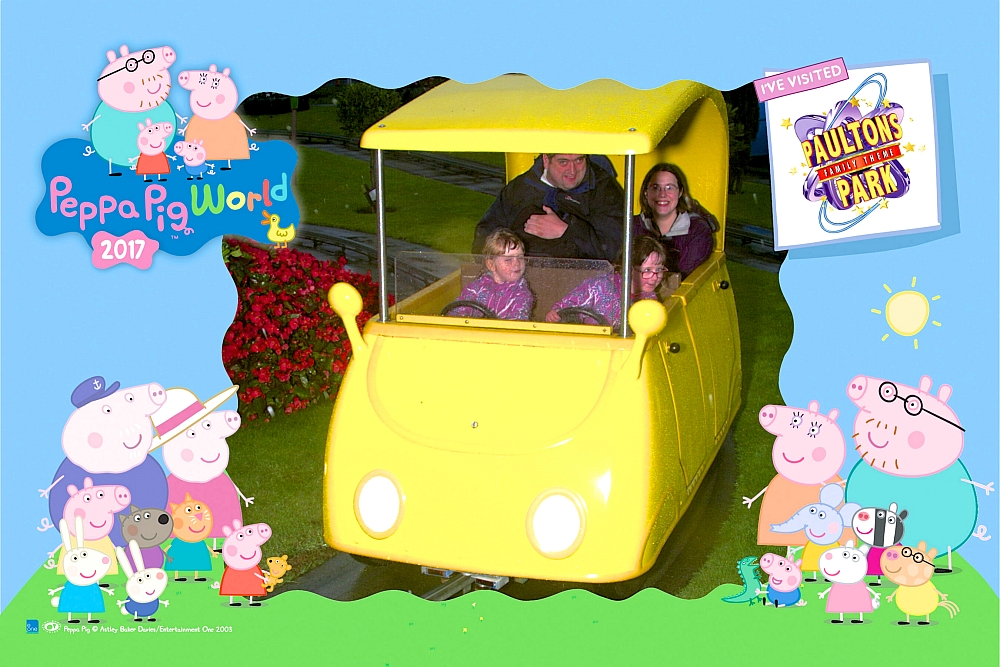 Me, hubby, Jessica and Sophie in a yellow car at Peppa Pig World