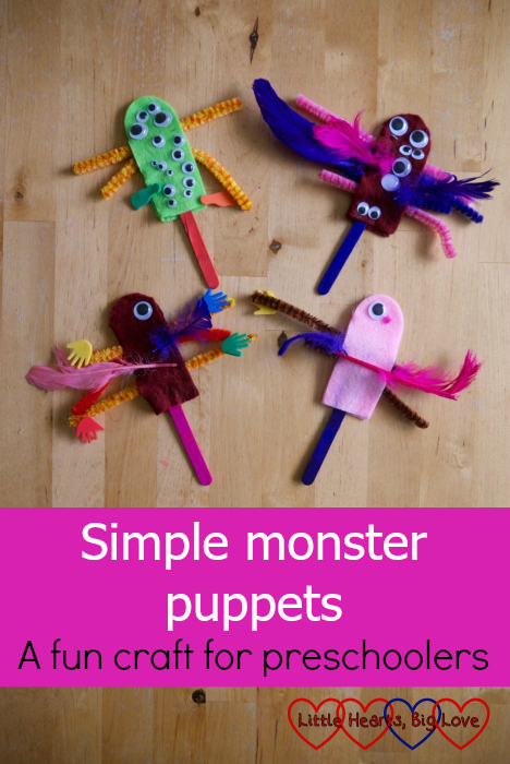 "Four monster puppets made from felt, craft sticks, googly eyes, foam shapes and feathers - ""Simple monster puppets - a fun craft for preschoolers"""