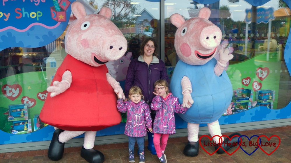 Jessica, Sophie and me with Peppa Pig and George