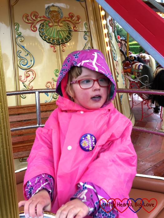 Jessica on the spinning cup on the Victorian double decker carousel